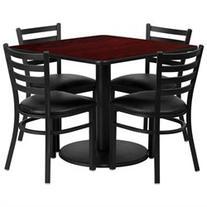 Flash Furniture 36 Inch Square Mahogany Laminate Table Set W