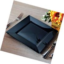 Square Plastic Dinner / Buffet Plates Black 9.5 Inch 120ct
