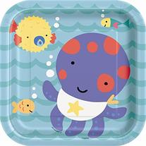 Square Under the Sea Dessert Plates, 10ct