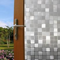 Coavas Squares Mosaic Refraction Static Film for Bathroom