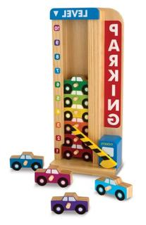 Stack & Count Wooden Parking Garage With 10 Cars