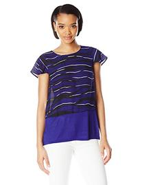 Kensie Women's Stacked Lines Top, Imperial Purple Combo,