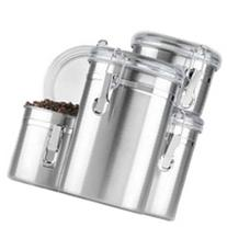 4 Pc. Stainless Steel Clamp Canister Set w/Clear Lid