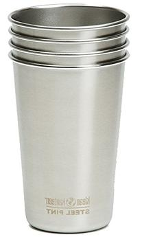 Klean Kanteen Steel Pint Cup ,Brushed Stainless,4-Pack