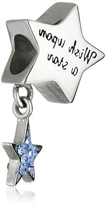 """Disney Stainless Steel Dangle Crystal """"Wish Upon a Star"""""""