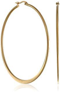 Yellow Gold-Plated Stainless Steel Flattened Hoop Earrings
