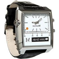 Martian Stainless Steel and Leather Passport Smartwatch with