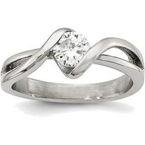 Stainless Steel Polished Round CZ Ring