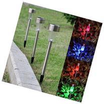 24 Pcs Stainless Steel Solar Powered Garden LED Light