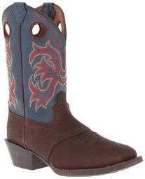 Justin Boot Stampede Western Boot ,Dark Brown Rawhide/Blue