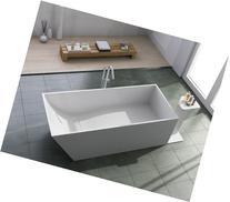 "ADM Free Standing Solid Surface Soaker Bathtub 63"" X 28"""