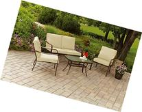 Mainstays Stanton Cushioned 4-Piece Patio Conversation Set,
