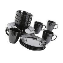 Stanza 16-piece Dinnerware Set Black These Elegant Dishes