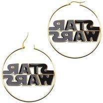 Star Wars Stainless Steel and Enamel Logo Hoop Earrings,