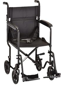 NOVA Medical Products Steel Transport Chair, Black, 19 Inch