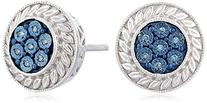 Sterling Silver Blue Diamond Accent Round Stud Earrings