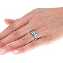 Sterling Silver Created Blue Opal Band Ring