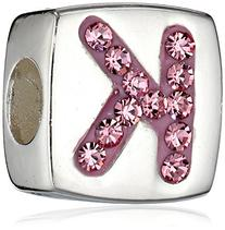 Hello Kitty Girls Sterling Silver Enamel and Crystal Initial