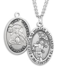 Men's Sterling Silver Oval Saint Sebastian Wrestling Medal