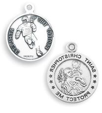 Men's Sterling Silver Round Saint Christopher Lacrosse Medal