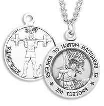 Men's Sterling Silver Round Saint Sebastian Weight Lifting