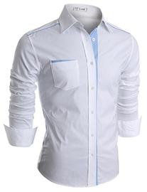 Doublju Mens Casual Shirt with Contrast Neck Band, Whiteblue