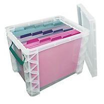 Super Stacker Storage Box, 19 Liters, Clear/Sea Breeze