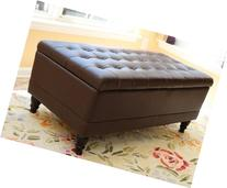 Home Life Storage Coffee Ottoman Dark Brown Espresso & Black