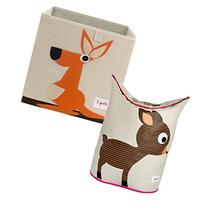 3 Sprouts Storage Box and Laundry Hamper, Kangaroo/Deer