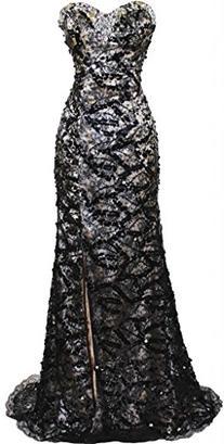 Meier Women's Strapless Beaded Black Lace Prom Formal Dress