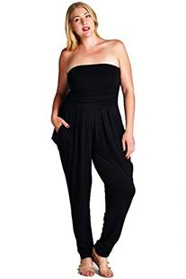ColorMC Women's Plus Size Strapless Ruched Detail Harem