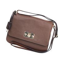 London Fog Handbags Strattford Crossbody Flap Nutmeg Stripe