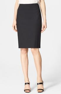 Women's Theory Stretch Wool Pencil Skirt, Size 4 - Black
