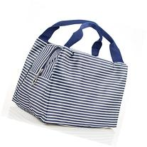 Strip Canvas Picnic Lunch Tote Bag Travel Zipper Tote Bags