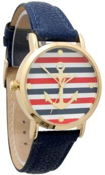 Women's Geneva Multi Color Striped Anchor Leather Watch -