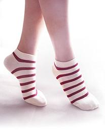 Vero Monte 6 Pairs Womens Striped Cotton No Show Ankle Socks