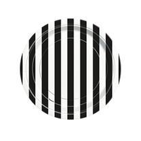 "Striped Dessert Plates, 6.875"", Black, 8 Count"