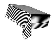 "Striped Plastic Tablecloth, 108"" x 54"", Black"