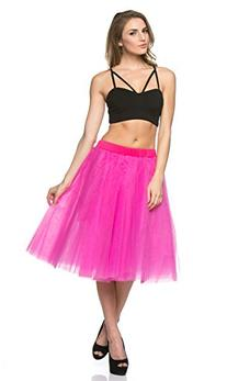 Structured Tulle Midi Skirt in Pink