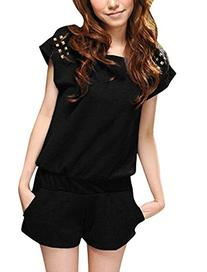 Allegra K Women Studded Decor Batwing Sleeve Elastic Waist
