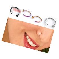 HuntGold 2 Pcs Unisex Nose Open Hoop Ring Earring Stainless