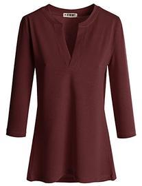 Dounblju Womens Basic 3/4 Sleeve Slit V-Neckline Rayon Top