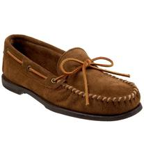 Men's Minnetonka Suede Camp Moccasin, Size 12 M - Brown