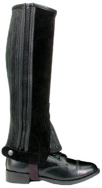 Tough 1 Suede Leather Half Chaps, Black, Medium
