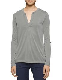 Calvin Klein Jeans Sueded Combo Split-Neck Top-GREEN-Medium