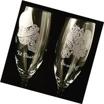 Sugar Skull wedding set, Champagne flutes, Wedding flutes,