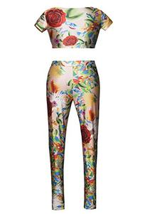 New Summer Artistic Floral Print Romper Women's 2 Pieces