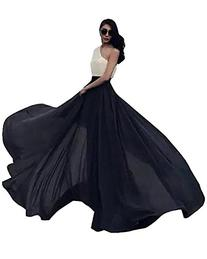 Women's Summer Chiffon Mopping Floor Length Big Hem Solid