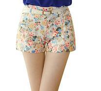 MK Women Summer Floral Rose Flowers Casual Cotton Pants