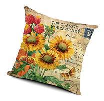 Wonder4 Sunflower Linen Cotton Cushion Pillowcase Decorative